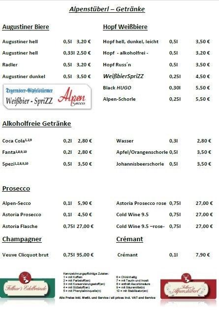 Getränkekarte Alpenstüberl Bad Wiessee